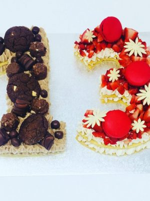 number cake kinder bueno et fraise